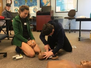 Author Destin practices CPR